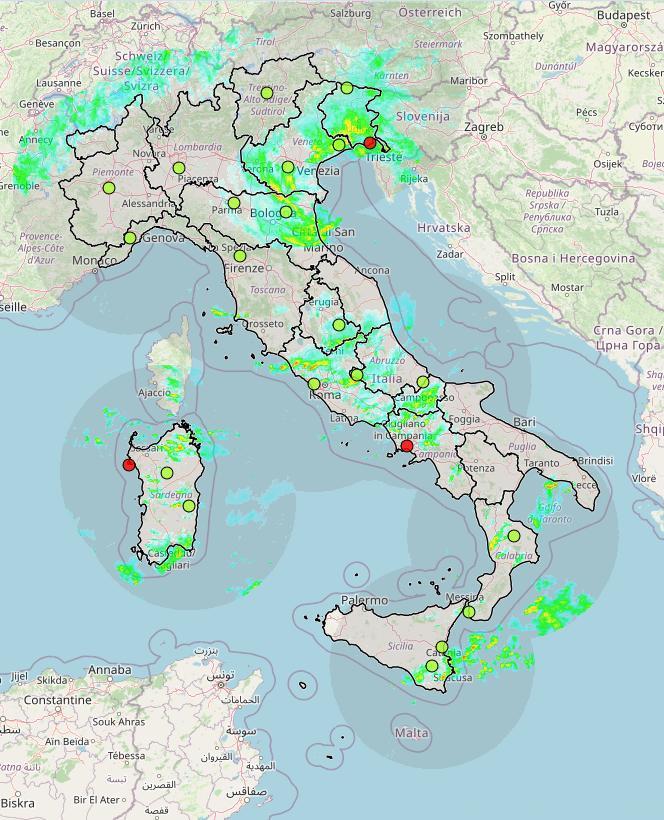 Cartina Meteorologica Dell Italia.Radar Meteorologici Con La Pioggia In Tempo Reale Il Cybernauta